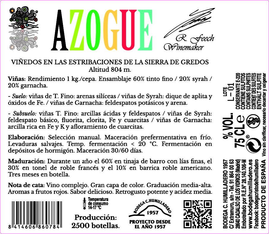 Etiqueta trasera vino Azogue