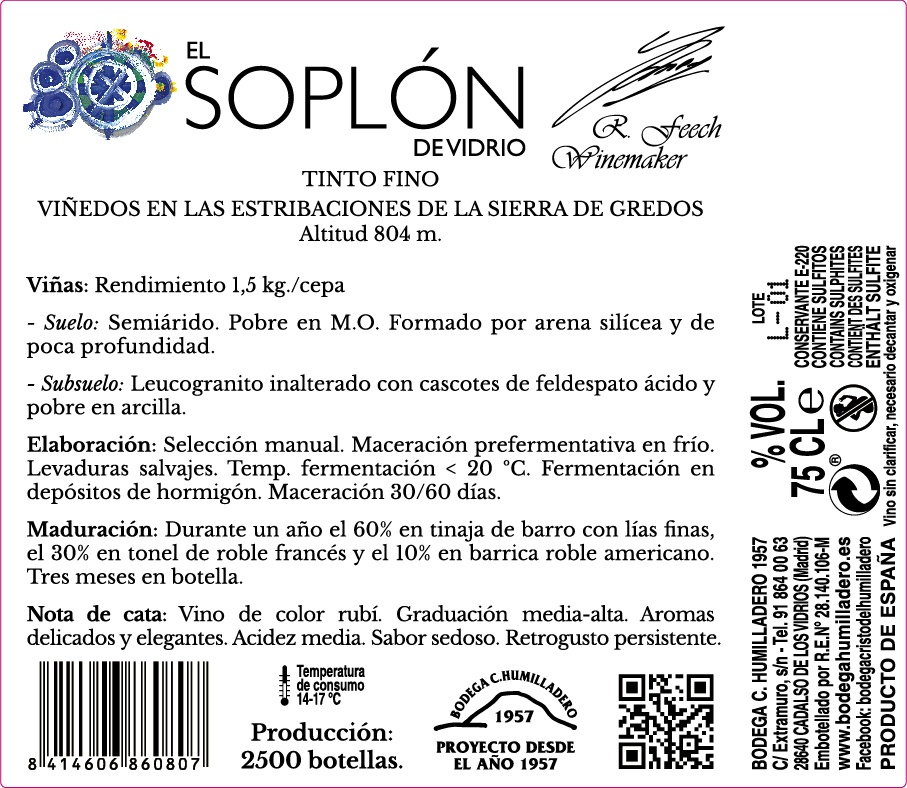 Etiqueta trasera vino Soplón de vidrio