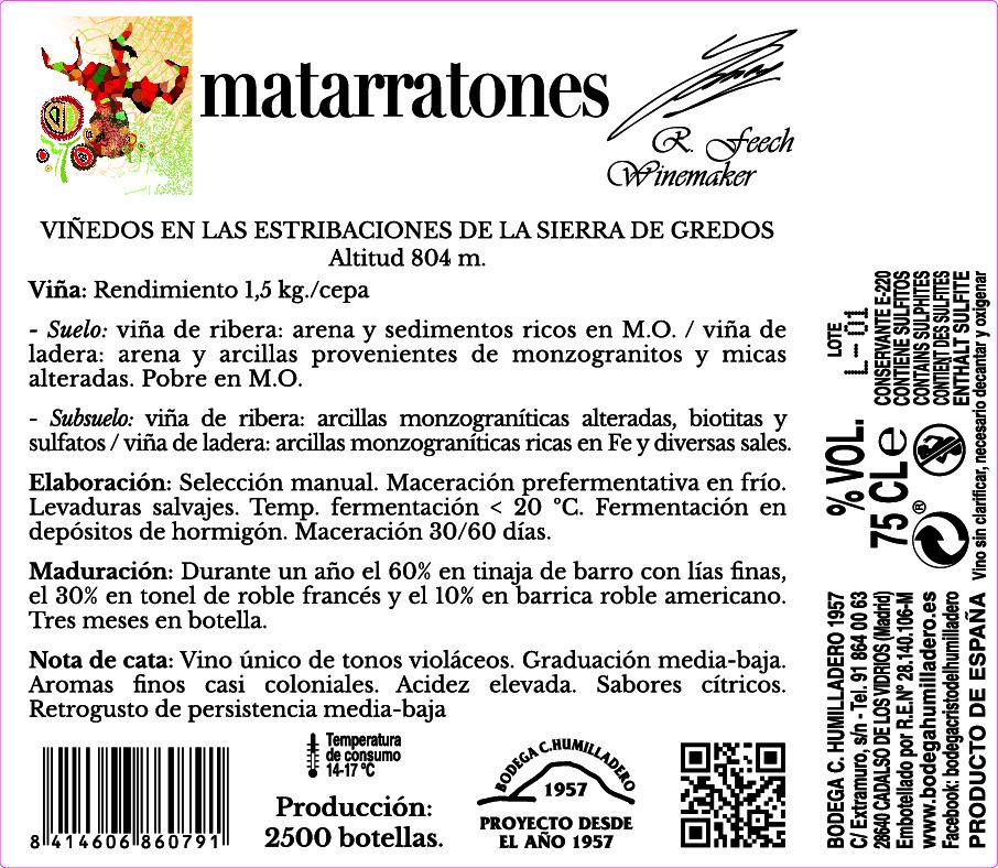 Etiqueta trasera vino Matarratones