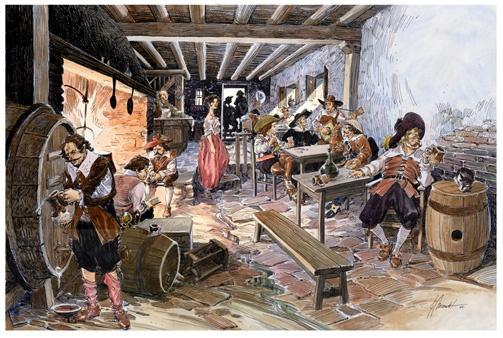 Recreación ilustrada de una taberna en el Siglo de Oro.