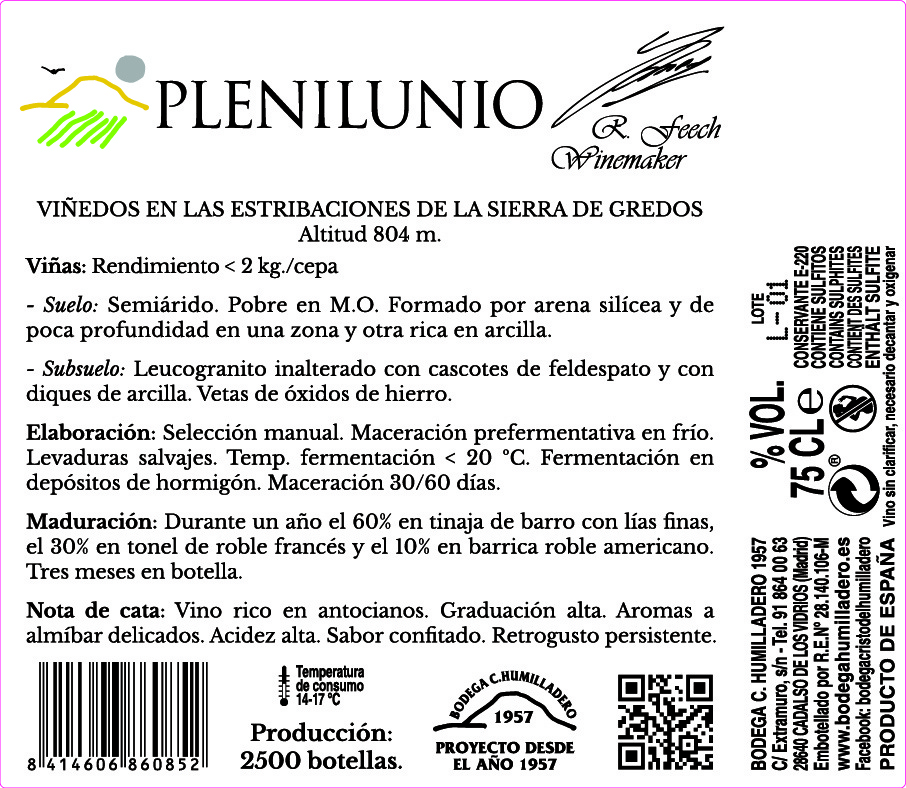 Etiqueta trasera vino Plenilunio