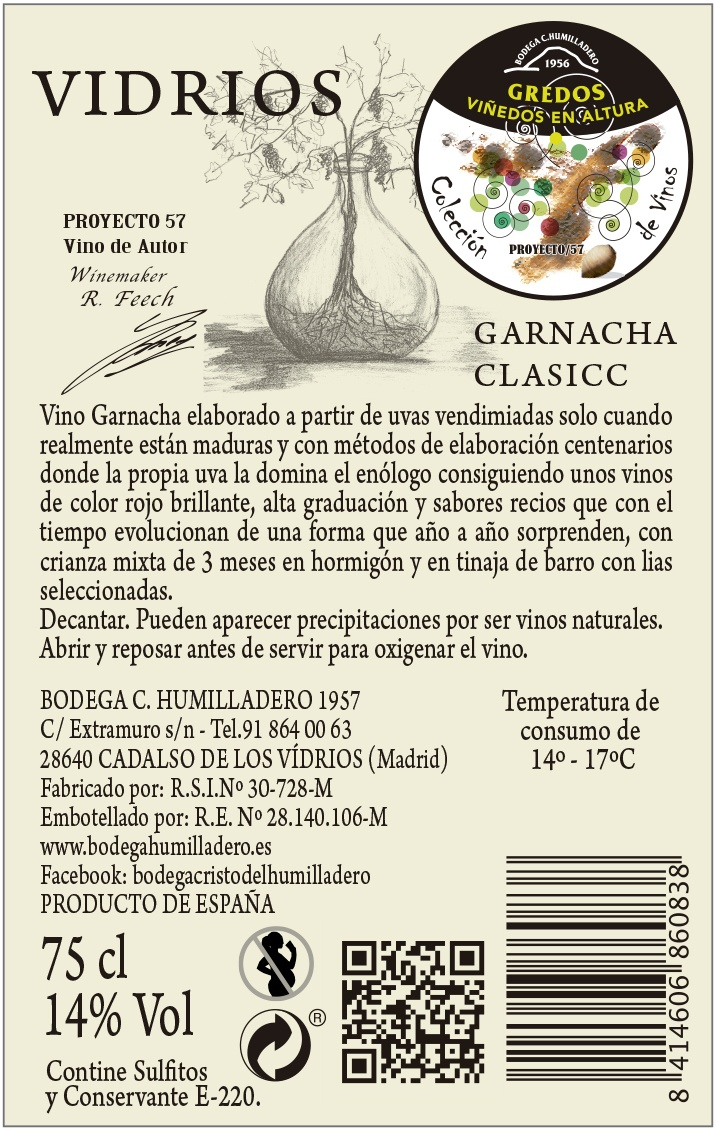 Etiqueta trasera vino Vidrios classic